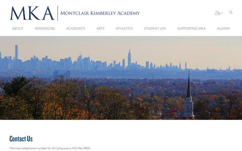 Screenshot of Contact Page Maps & Directions Page mka.org - Contact Us - Montclair Kimberley Academy - captured Oct. 18, 2018