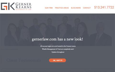 Screenshot of Testimonials Page gernerlaw.com - Client Testimonials | Gerner & Kearns Co., L.P.A. | Cincinnati, Ohio - captured Nov. 10, 2018