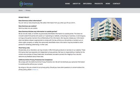 Screenshot of Privacy Page gemmuspharma.com - Privacy - captured Sept. 16, 2014
