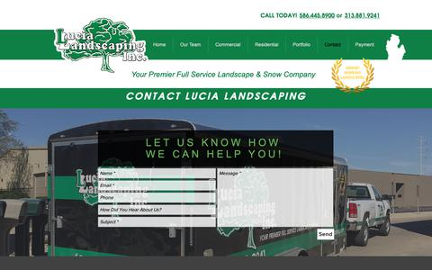 Screenshot of Contact Page lucialandscaping.com - Lucia Landscaping Inc. | Contact - captured Sept. 30, 2018