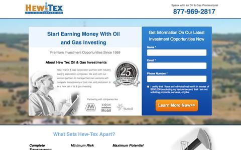 Screenshot of Landing Page hew-tex.com - Hew-Tex - Oil & Gas Investing - captured Oct. 27, 2014