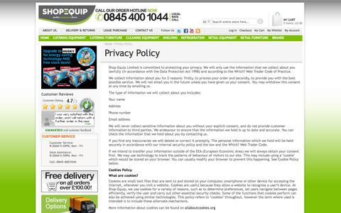 Screenshot of Privacy Page shop-equip.com - Privacy Policy - captured Sept. 22, 2014