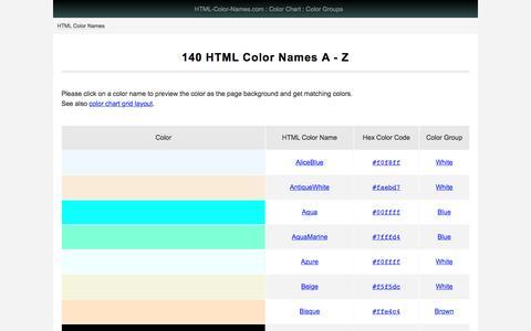 Screenshot of Home Page html-color-names.com - 140 HTML Color Names - html-color-names.com - captured Dec. 5, 2016