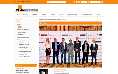 Screenshot of Team Page mesia.com - Middle East Solar Industry Association |   Our Team - captured Oct. 27, 2014