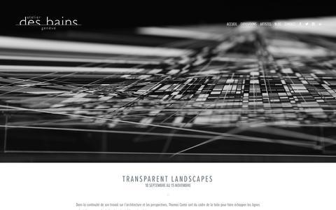 Screenshot of Home Page atelierdesbains.com - Galerie d'Art Contemporain Urbain, Atelier des Bains, Genève - captured Sept. 30, 2014