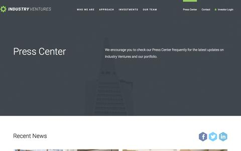 Screenshot of Press Page industryventures.com - Press Center : Industry Ventures – The Leading Liquidity Provider for the Venture Ecosystem - captured May 17, 2017