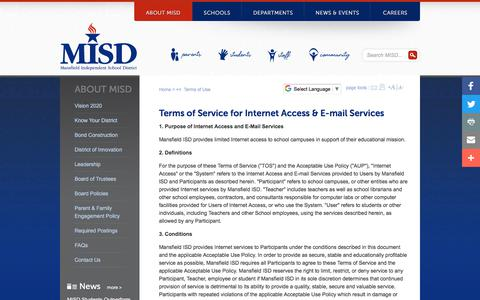 Screenshot of Terms Page mansfieldisd.org - Mansfield Independent School District K-12 Public Education in North Texas. A great place to live, learn and teach: Terms of Use - captured July 27, 2018