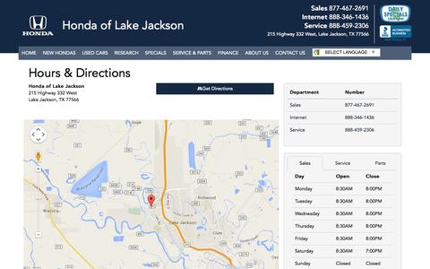 Screenshot of Maps & Directions Page Hours Page hondaoflakejackson.com - Honda of Lake Jackson Hours & Directions - Alvin Honda dealer in Lake Jackson Texas - New and Used Honda dealership Angleton Pearland Bay City Texas - captured July 25, 2015
