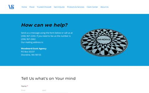 Screenshot of Contact Page youragt.com - Woodward-Scott Agency Contact Us - WCS - captured Oct. 18, 2018
