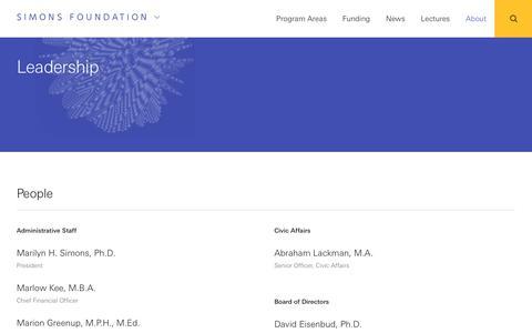 Screenshot of Team Page simonsfoundation.org - Leadership | Simons Foundation - captured Sept. 24, 2018