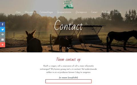 Screenshot of Contact Page hetskonsteplekske.nl - Contact | 't Skonste Plekske, Ezelwandelingen en Minicamping - captured Sept. 19, 2017