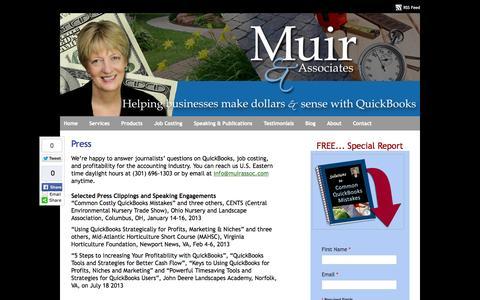 Screenshot of Press Page muirassoc.com - QuickBooks Landscaping Lawn Care Irrigation Job Costing Frederick MD Press - captured Oct. 26, 2014