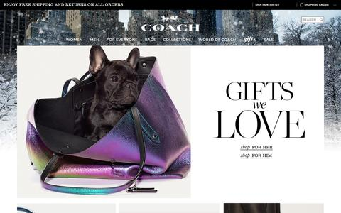 Screenshot of Home Page coach.com - COACH Official Site | Shop This Holiday Season At COACH - captured Dec. 1, 2015