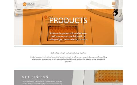 Screenshot of Products Page axionbiosystems.com - Products | Axion BioSystems - captured May 9, 2017