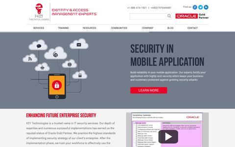 Screenshot of Menu Page k21technologies.com - K21 Technologies   Future Home Security - captured Oct. 29, 2014