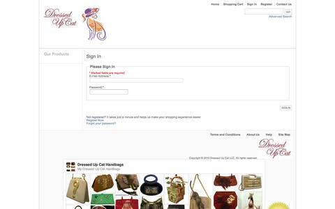 Screenshot of Login Page dressedupcat.com - Dressed Up Cat  Fashion Re-fashioned Handbags - captured Oct. 5, 2014