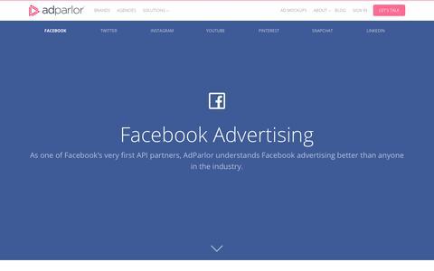 Screenshot of adparlor.com - Platform: Facebook | AdParlor - captured July 10, 2017