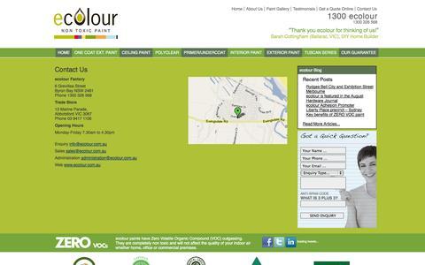 Screenshot of Contact Page ecolour.com.au - Contact | ecolour - captured Sept. 30, 2014