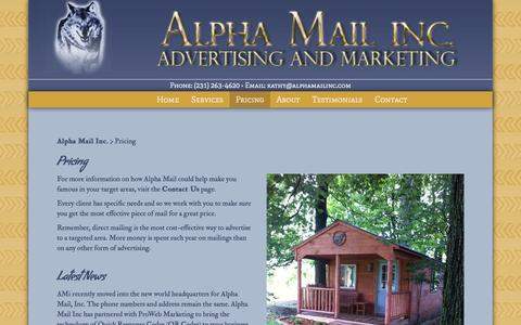 Screenshot of Pricing Page alphamailinc.com - Direct Mail Marketing Solution Pricing - Alpha Mail Inc. - captured Dec. 24, 2015