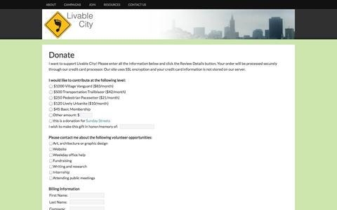 Screenshot of Signup Page livablecity.org - Livable City - - captured Sept. 30, 2014