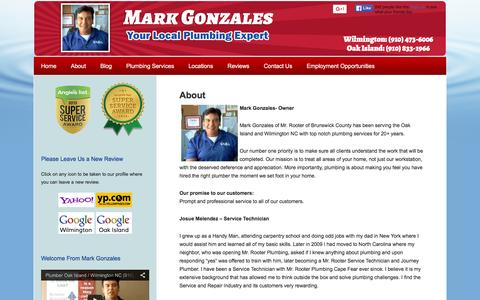 Screenshot of About Page capefearplumber.com - Wilmington NC Plumber Mark Gonzales   Trusted Local Plumbers in Oak Island & Wilmington NC - captured Feb. 14, 2016