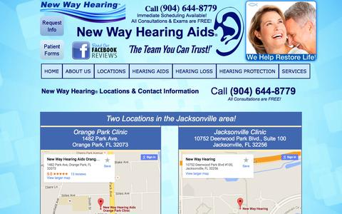 Screenshot of Contact Page Locations Page newwayhearingaids.com - NEW WAY HEARING AIDS® | CONTACT US - captured Jan. 12, 2016