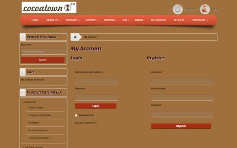 Screenshot of Login Page cocoatown.com - My Account - Enabling chocolate makers affordablyEnabling chocolate makers affordably - captured Dec. 10, 2015