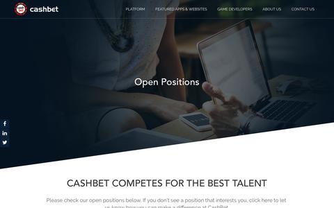 Screenshot of Jobs Page cashbet.com - Careers – CashBet - captured July 12, 2018