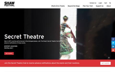 Screenshot of Signup Page shawfest.com - Secret Theatre - Shaw Festival Theatre - captured Dec. 4, 2016
