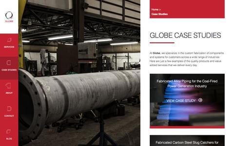 Screenshot of Case Studies Page globefab.com - Case Studies - Globe Mechanical - captured April 27, 2017