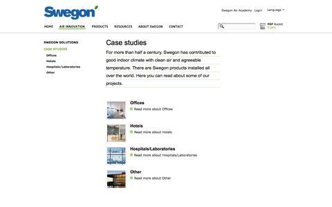Screenshot of Case Studies Page swegon.com - Swegon - Case studies - captured Oct. 6, 2014