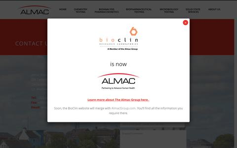 Screenshot of Contact Page bioclinlabs.com - Contact Almac Sciences | Bioclin Research Labs - captured Oct. 5, 2018