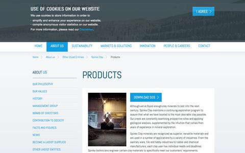 Screenshot of Products Page lhoist.com - Products | Lhoist - Minerals and lime producer - captured June 18, 2016