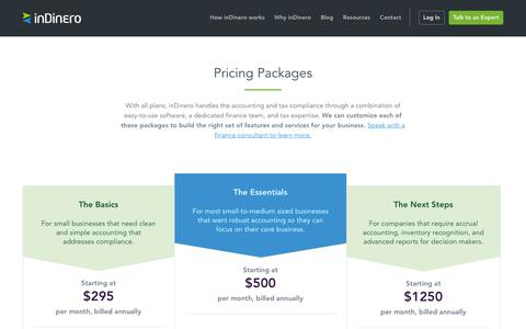 Screenshot of Pricing Page indinero.com - Accounting and Tax Pricing Plans | inDinero - captured Feb. 1, 2017