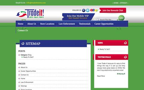 Screenshot of Site Map Page tradeitstores.com - Sitemap | :::: Welcome to Trade It ! :::: - captured Nov. 4, 2014