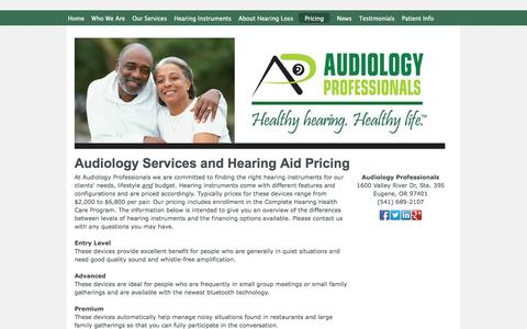 Screenshot of Pricing Page eugeneaudiology.com - Hearing Pricing | Audiology Professionals | Eugene, Oregon - Audiology Professionals - captured Oct. 4, 2014