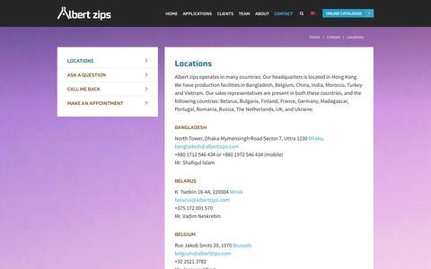 Screenshot of Locations Page albertzips.com - Locations   Albert Zips - captured Sept. 30, 2014