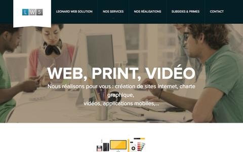 Screenshot of Home Page lws.be - LWS (Léonard Web Solution), Création de sites Internet, Conception sites web, Verviers - captured Oct. 2, 2014