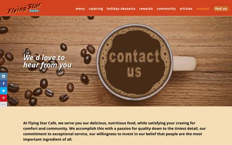 Screenshot of Contact Page flyingstarcafe.com - Contact - Flying Star Cafe - captured Nov. 6, 2018