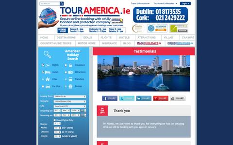 Screenshot of Testimonials Page touramerica.ie - American Holidays Cheap Holiday Deals USA Orlando Holiday Deals New York Flights - captured Oct. 10, 2014