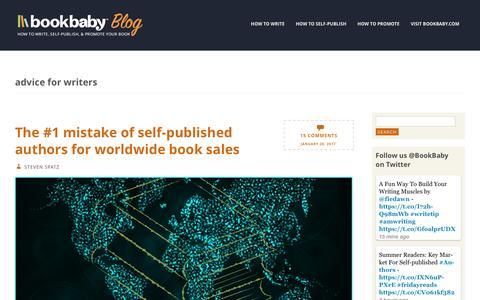 Screenshot of Blog bookbaby.com - advice for writers | BookBaby Blog - captured Feb. 27, 2017