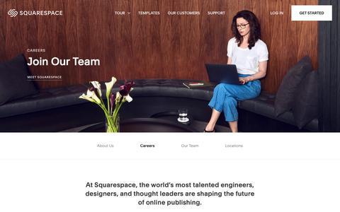 Screenshot of Jobs Page squarespace.com - Squarespace Careers – Squarespace - captured Jan. 30, 2019