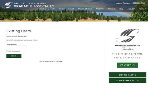 Screenshot of Login Page graeagleassociates.com - Search Graeagle Properties • Graeagle Real Estate - Graeagle Associates - captured Sept. 26, 2018