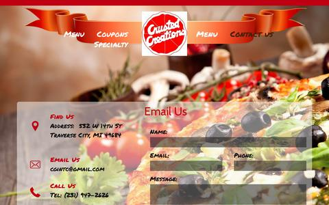 Screenshot of Contact Page crustedcreations.com - Contact us - captured Oct. 31, 2018