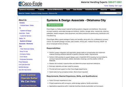 Screenshot of Jobs Page cisco-eagle.com - Oklahoma City, OK Conveyor Systems Engineer Job - captured Jan. 5, 2017
