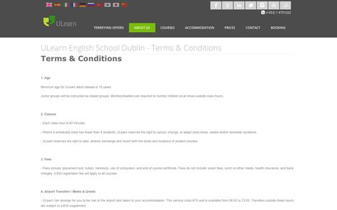 Screenshot of Terms Page ulearnschool.com - ULearn English School Dublin | Terms and Conditions - captured Oct. 1, 2018
