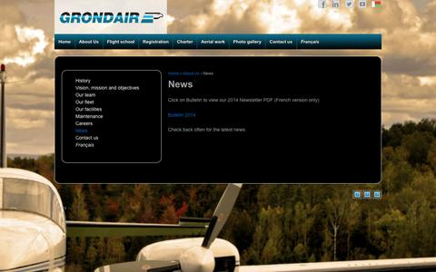 Screenshot of Press Page grondair.qc.ca - News - Grondair - captured July 19, 2016