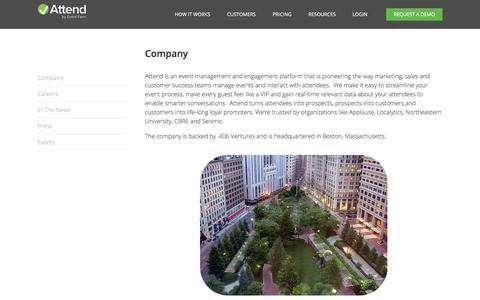 Screenshot of About Page attend.com - Company - Attend - captured Oct. 9, 2017