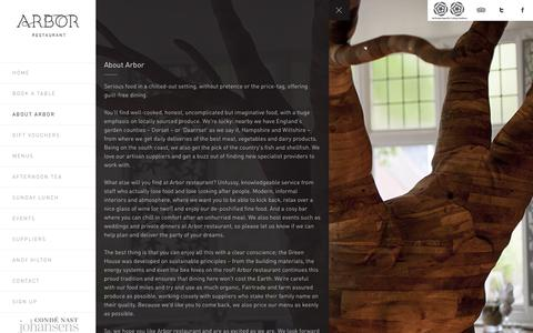 Screenshot of About Page arbor-restaurant.co.uk - About Us | Arbor Restaurant Arbor Restaurant - captured Oct. 31, 2017