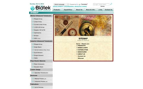 Screenshot of Site Map Page blatek.com - Ultrasonic Transducers | Ultrasound Piezo Composite Transducers | Piezoelectric Ultrasonic Transducers | Transducer Specialists - captured Oct. 5, 2014